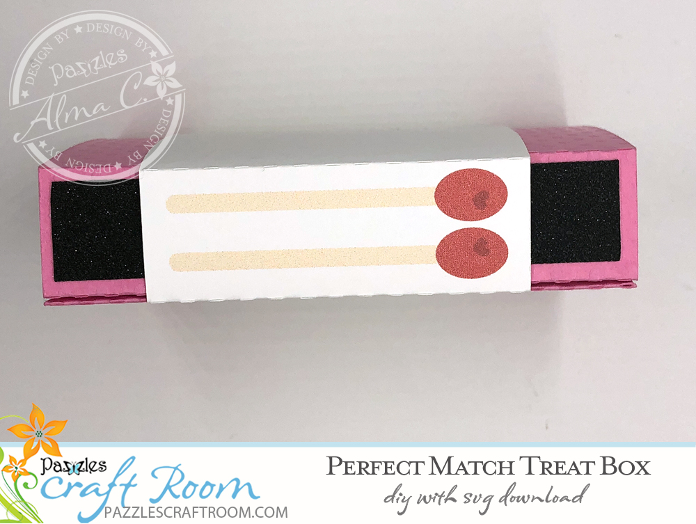 Pazzles DIY Perfect Match Treat Box. Instant SVG download compatible with all major electronic cutters including Pazzles Inspiration, Cricut, and Silhouette Cameo. Design by Alma Cervantes.