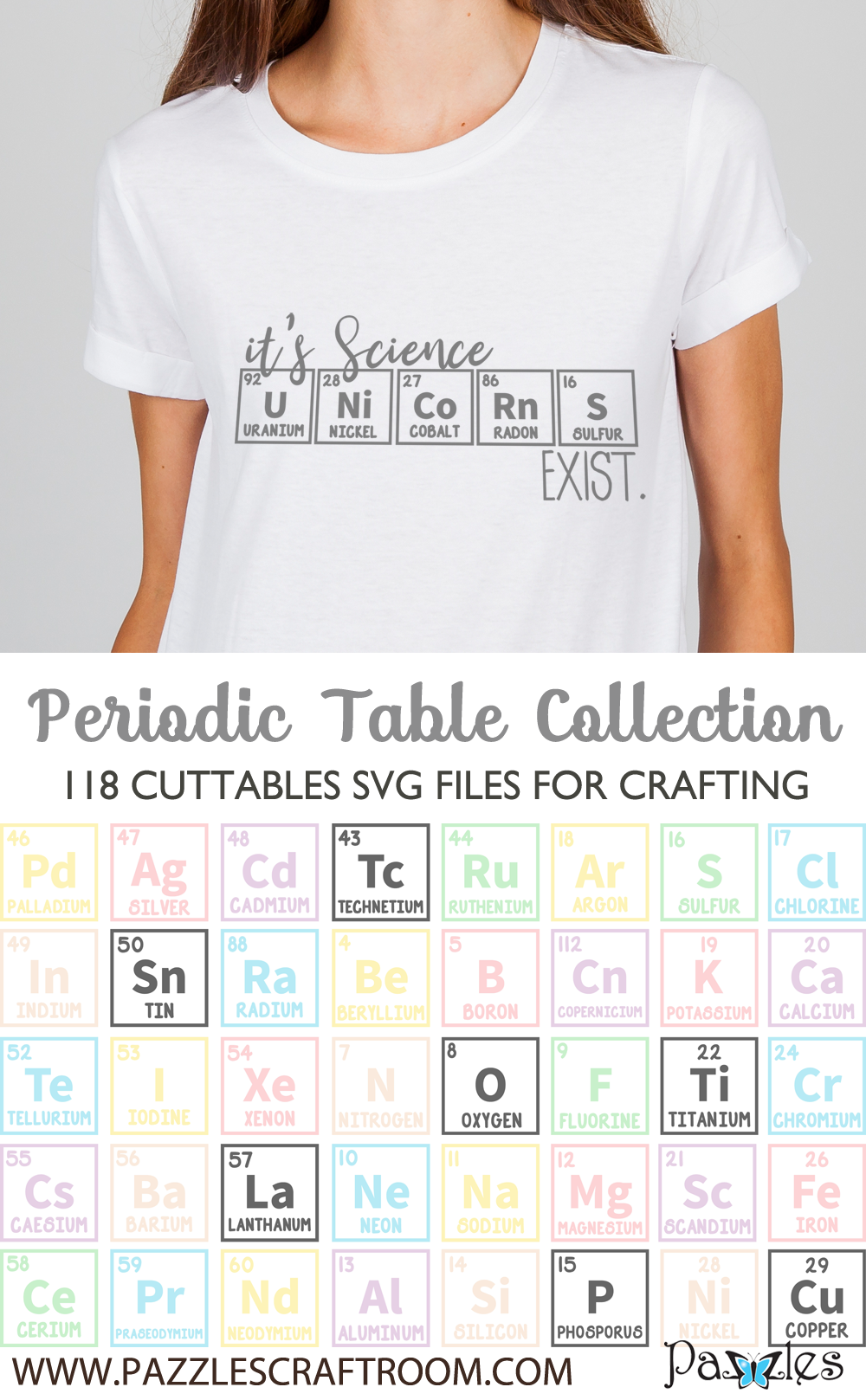 Pazzles DIY Periodic Table Collection of cuttable SVG files for crafts. Instant download compatible with all major electronic cutters including Pazzles Inspiration, Cricut, and Silhouette Cameo.