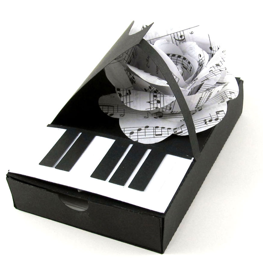Piano Box with Musical Rose