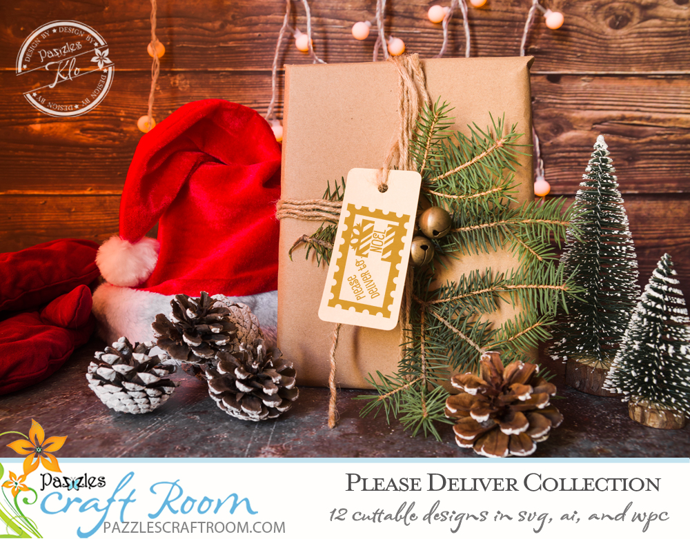 Pazzles Please Deliver Christmas Stamp Collection with instant download in SVG, AI, and WPC. Compatible with all major electronic cutters including Pazzles Inspiration, Cricut, and Silhouette Cameo. Design by Klo Oxford.