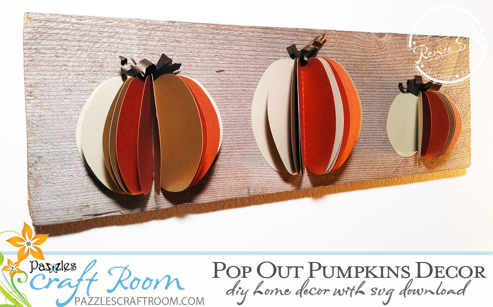 Pazzles Pop Out DIY Pumpkin Decor for Home Decor by Renee Smart. SVG download compatible with Pazzles Inspiration, Circut, and Silhouette Cameo.