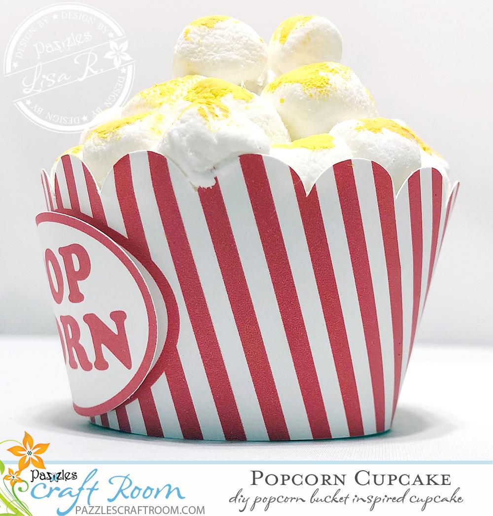 Pazzles DIY Popcorn Cupcake Wrapper by Lisa Reyna