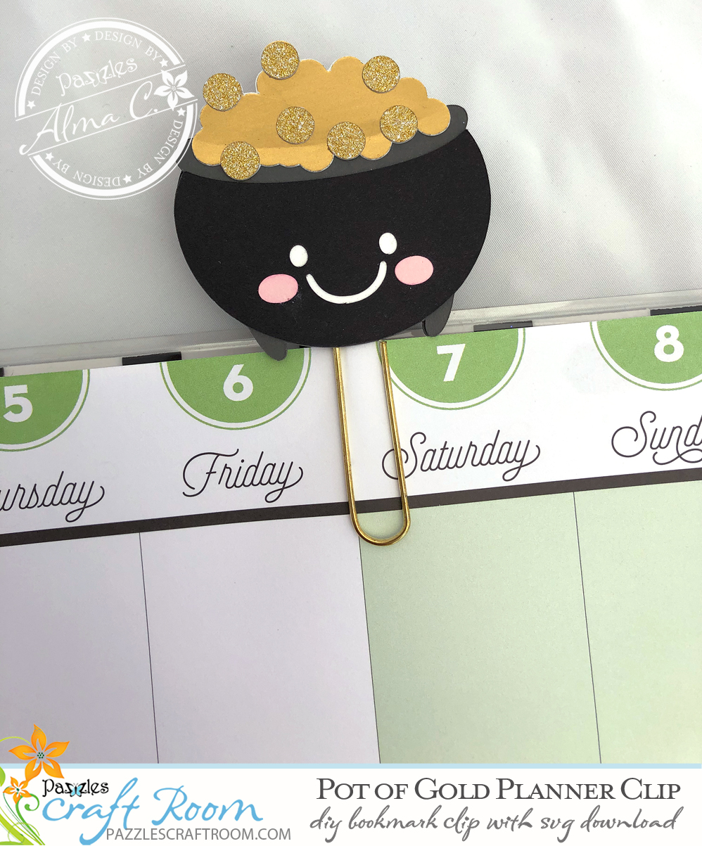 Pazzles DIY Pot of Gold Planner Clip with instant SVG download. Compatible with Pazzles Inspiration, Cricut, and Silhouette Cameo. Design by Alma Cervantes.