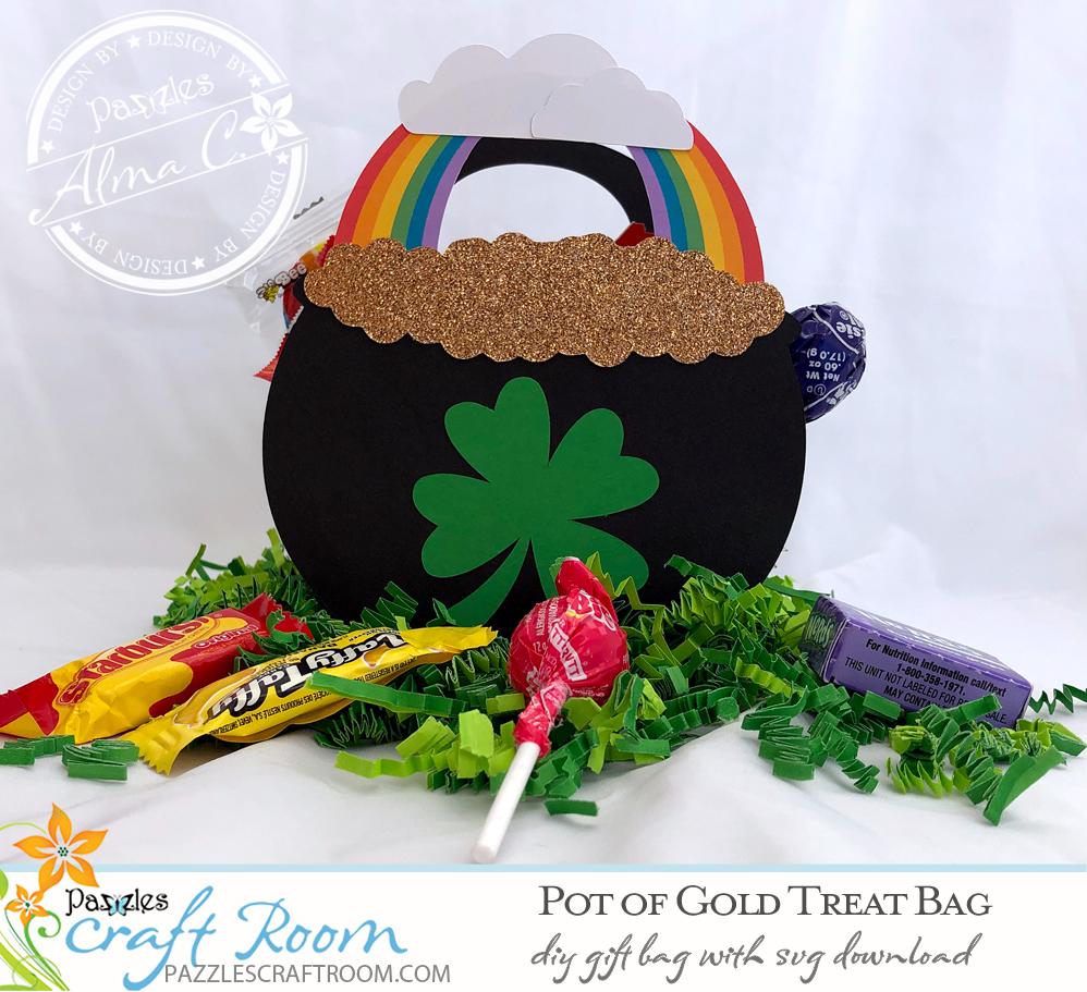 Pazzles DIY Pot of Gold St. Patrick's Day Treat Bag with instant SVG download. Compatible with all electronic cutters including Pazzles Inspiration, Cricut, and Silhouette Cameo. Design by Alma Cervantes.