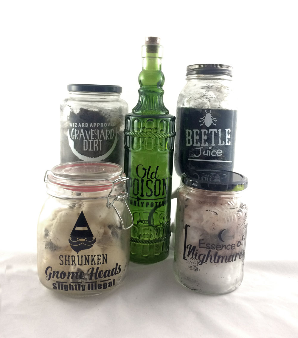 Halloween Potion Jars with Vinyl Labels