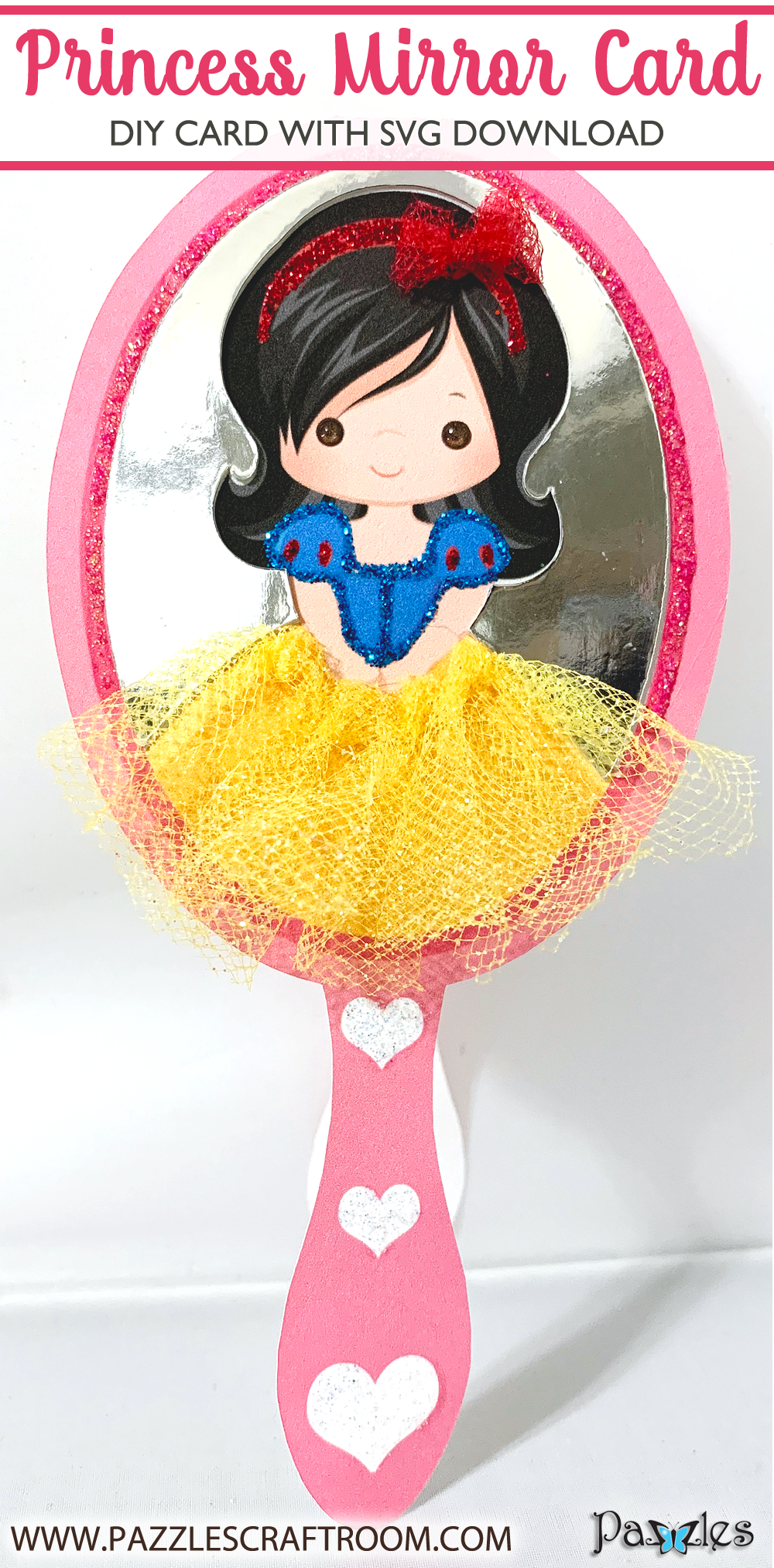 Pazzles Snow White DIY Princess Mirror Card with SVG download. Compatible with all major electronic cutters including Pazzles Inspiration, Cricut, and Silhouette Cameo. Design by Lisa Reyna.