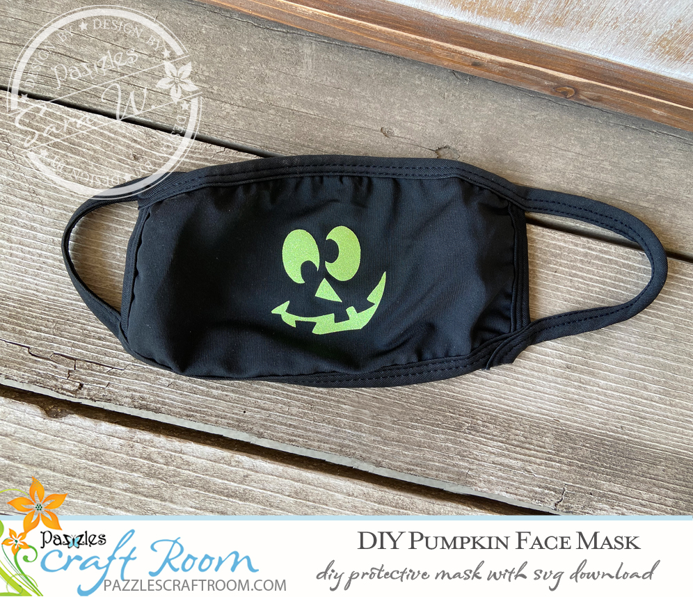 Pazzles DIY Pumpkin Face Mask with instant SVG download. Compatible with all major electronic cutters including Pazzles Inspiration, Cricut, and Silhouette Cameo. Design by Sara Weber.