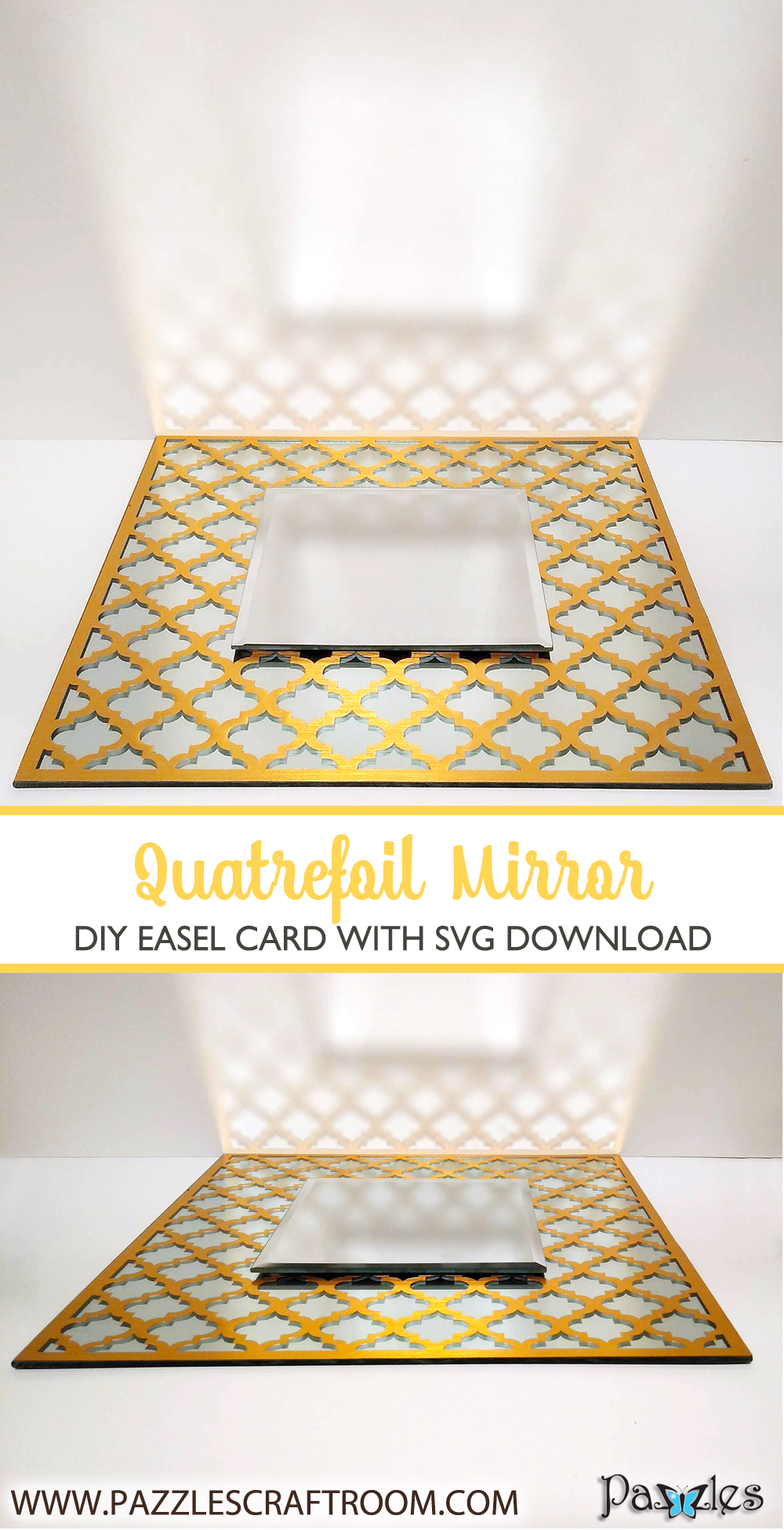 Pazzles DIY Quatrefoil Decorative Mirror with instant SVG download. Compatible with all major electronic cutters including Pazzles Inspiration, Cricut, and Silhouette Cameo. Design by Renee Smart.
