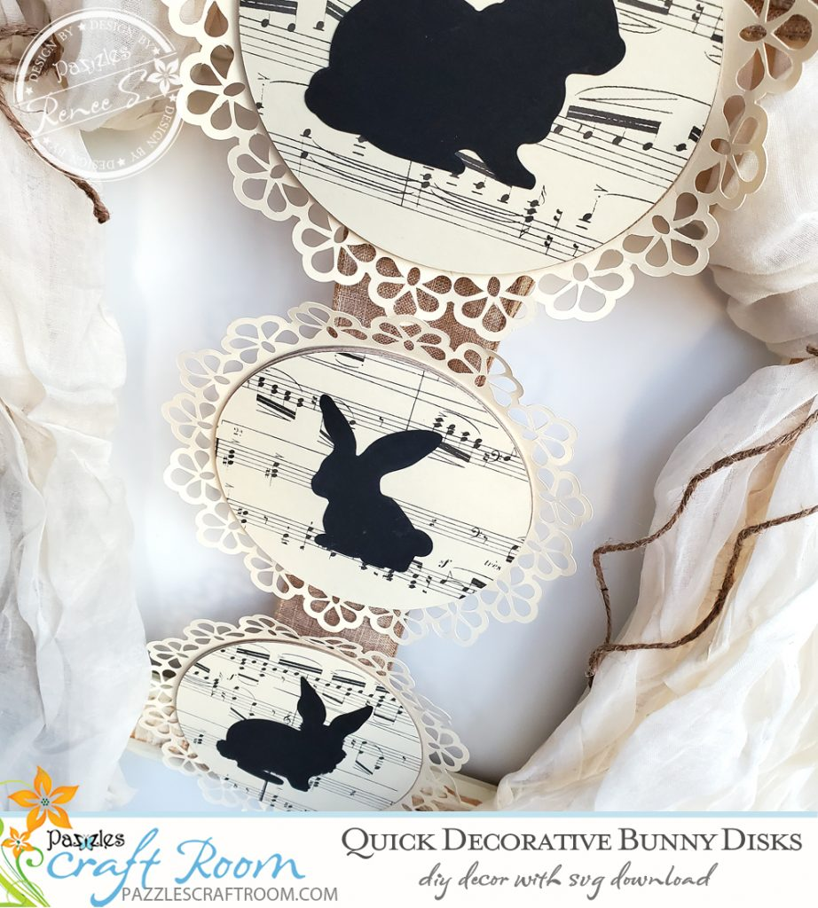 Pazzles DIY Quick Bunny Disks with instant SVG download. Instant SVG download compatible with all major electronic cutters including Pazzles Inspiration, Cricut, and Silhouette Cameo. Design by Renee Smart.
