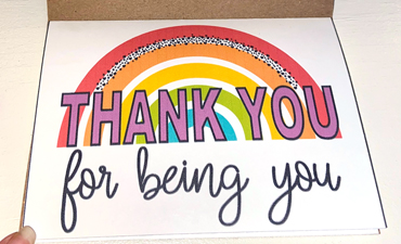 Pazzles Rainbow Thank You Card. Instant SVG download compatible with all major electronic cutters including Pazzles Inspiration, Cricut, and Silhouette Cameo. Design by Sara Weber.