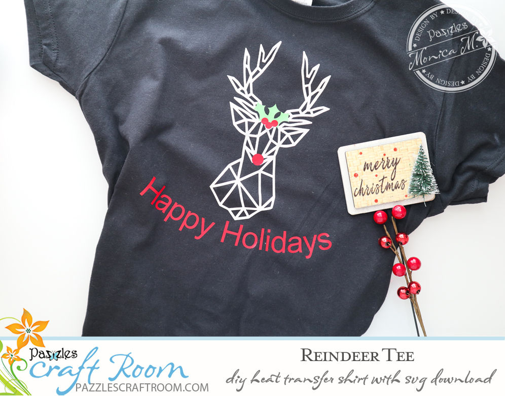 Pazzles DIY Reindeer Apparel with instant SVG download. Compatible with all major electronic cutters including Pazzles Inspiration, Cricut, and Silhouette Cameo. Design by Monica Martinez.