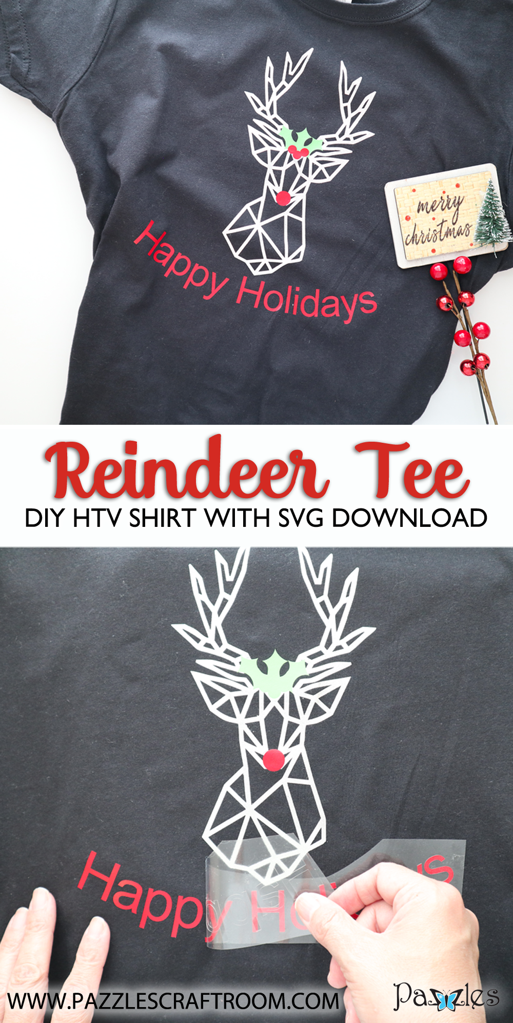 Pazzles DIY Reindeer Shirt with instant SVG download. Compatible with all major electronic cutters including Pazzles Inspiration, Cricut, and Silhouette Cameo. Design by Monica Martinez.