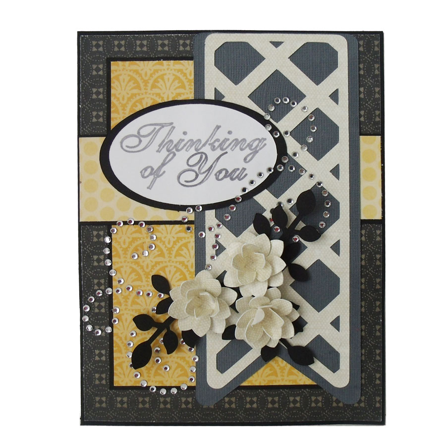Rhinestone Scroll Card
