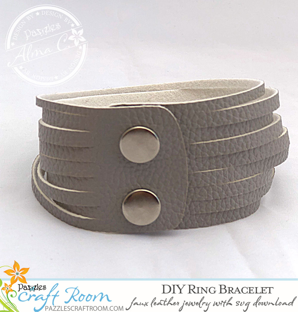Pazzles DIY Faux Leather Bracelet with instant SVG download compatible with all major electronic cutters including Pazzles Inspiration, Circut, and Silhouette Cameo. Design by Alma Cervantes.