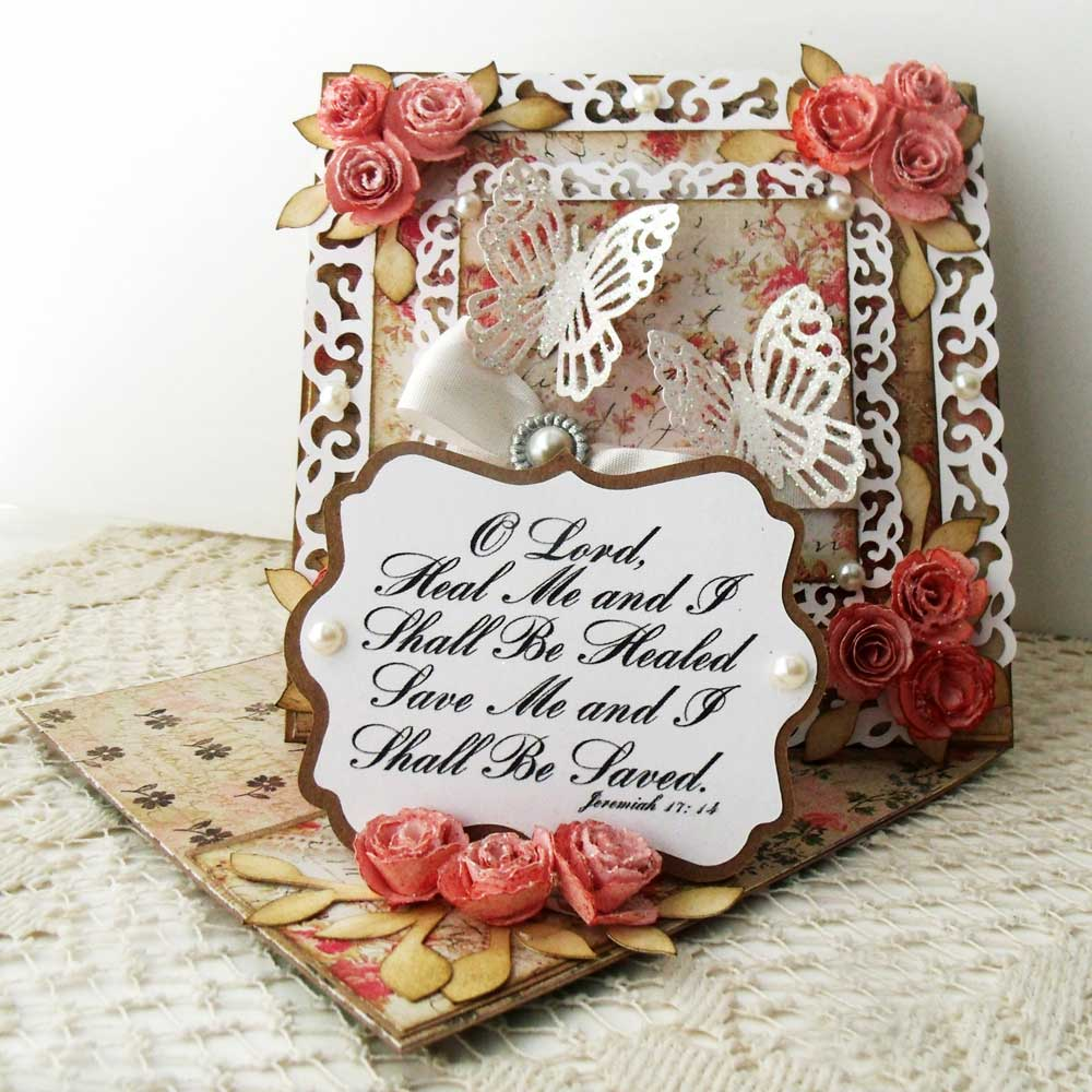 Twisted Easel Card with Rolled Roses