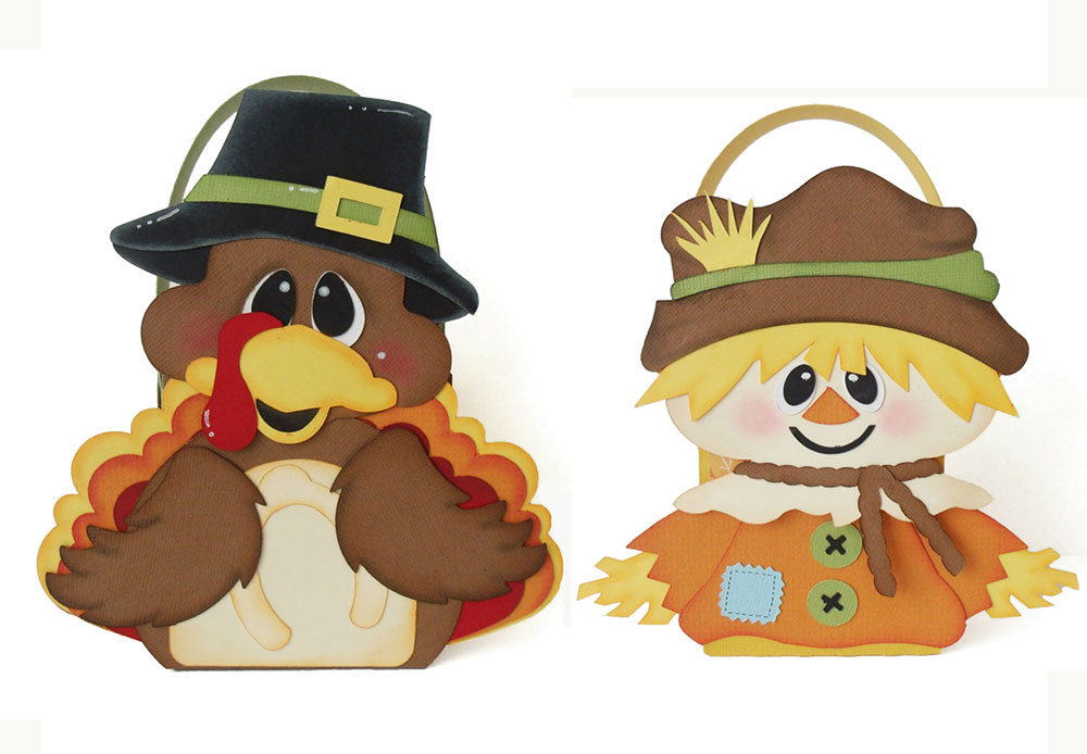 Fall treat boxes cut files. Scarecrow and Turkey