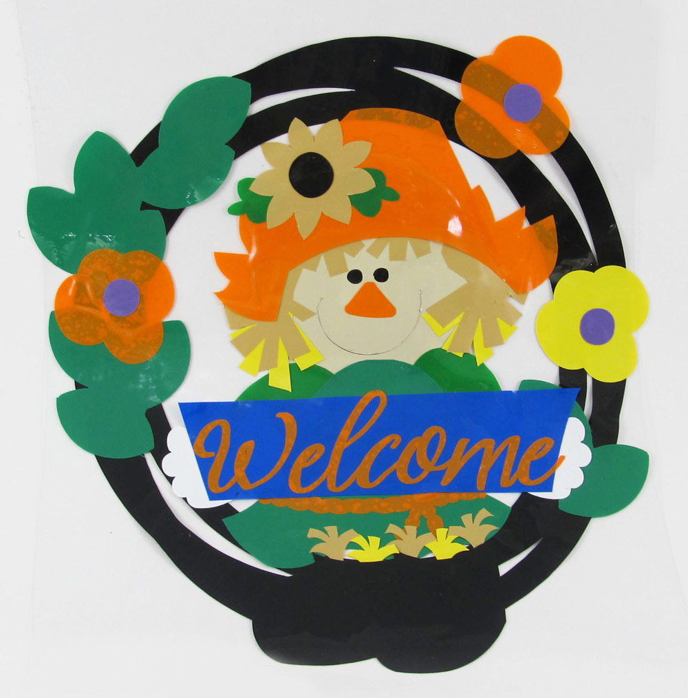 Autumn Window Cling Scarecrow