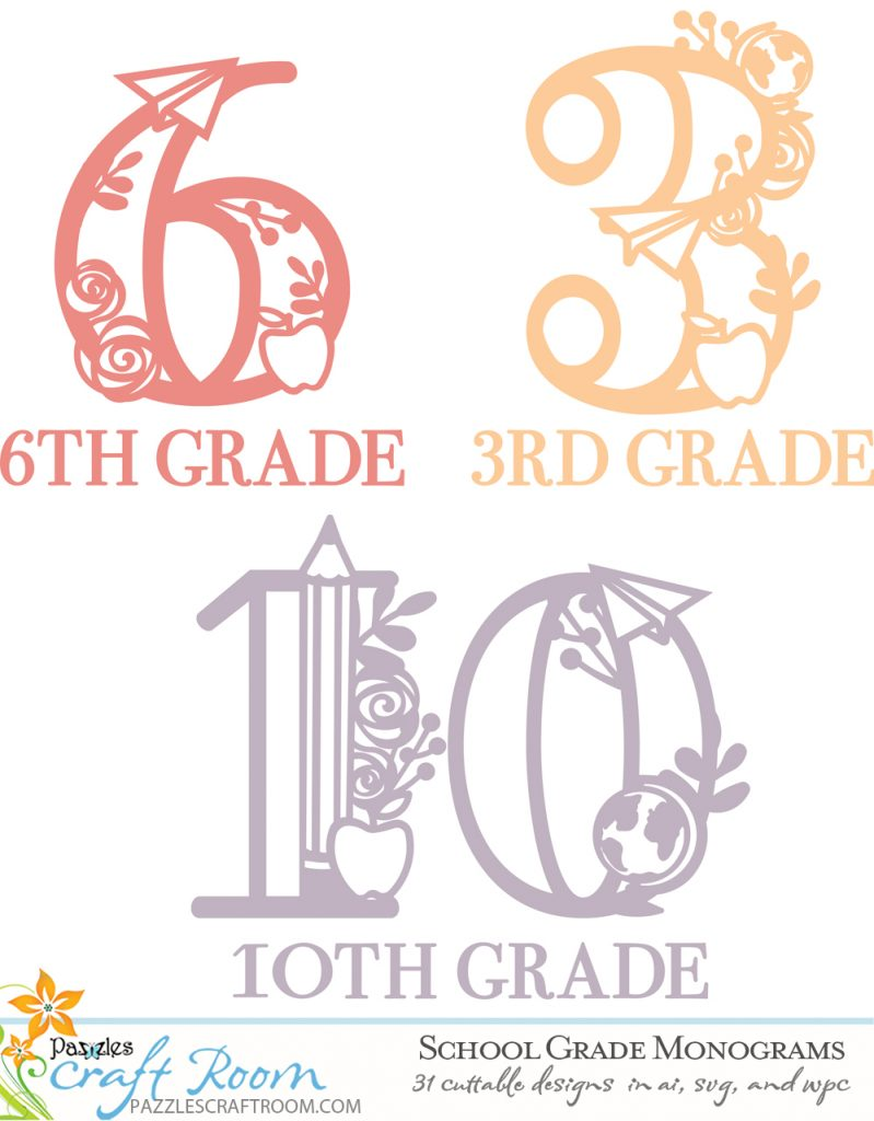 Pazzles DIY School Grade Monograms collection of cuttable designs in AI, SVG, and WPC. Instant SVG download compatible with all major electronic cutters including Pazzles Inspiration, Cricut, and Silhouette Cameo.