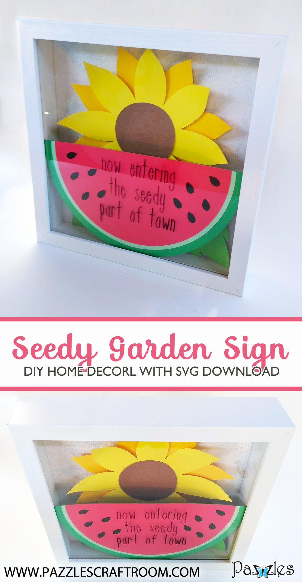 Pazzles DIY Seedy Garden Sign with instant SVG download. Compatible with all major electronic cutters including Pazzles Inspiration, Cricut, and Silhouette Cameo. Design by Renee Smart.