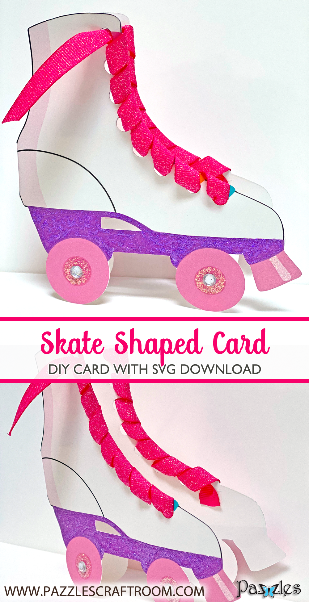 Pazzles DIY Skate Card with instant SVG download. Compatible with all major electronic cutters including Pazzles Inspiration, Cricut, and Silhouette Cameo. Design by Lisa Reyna.