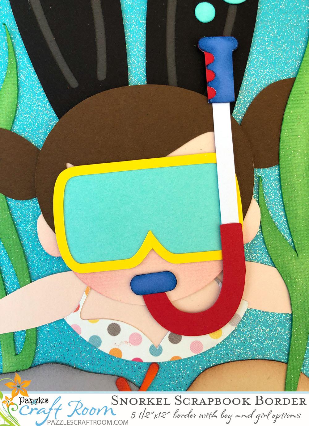 Pazzles DIY Boy or Girl Snorkeling Scrapbook Border by Alma Cervantes