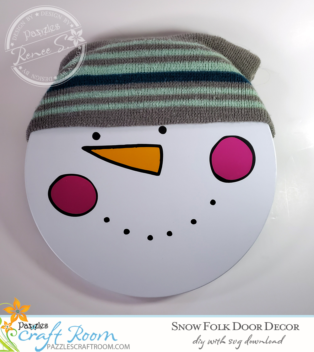 Pazzles DIY Snow Folk Door Decor with instant SVG download. Compatible with all major electronic cutters including Pazzles Inspiration, Cricut, and Silhouette Cameo. Design by Renee Smart.