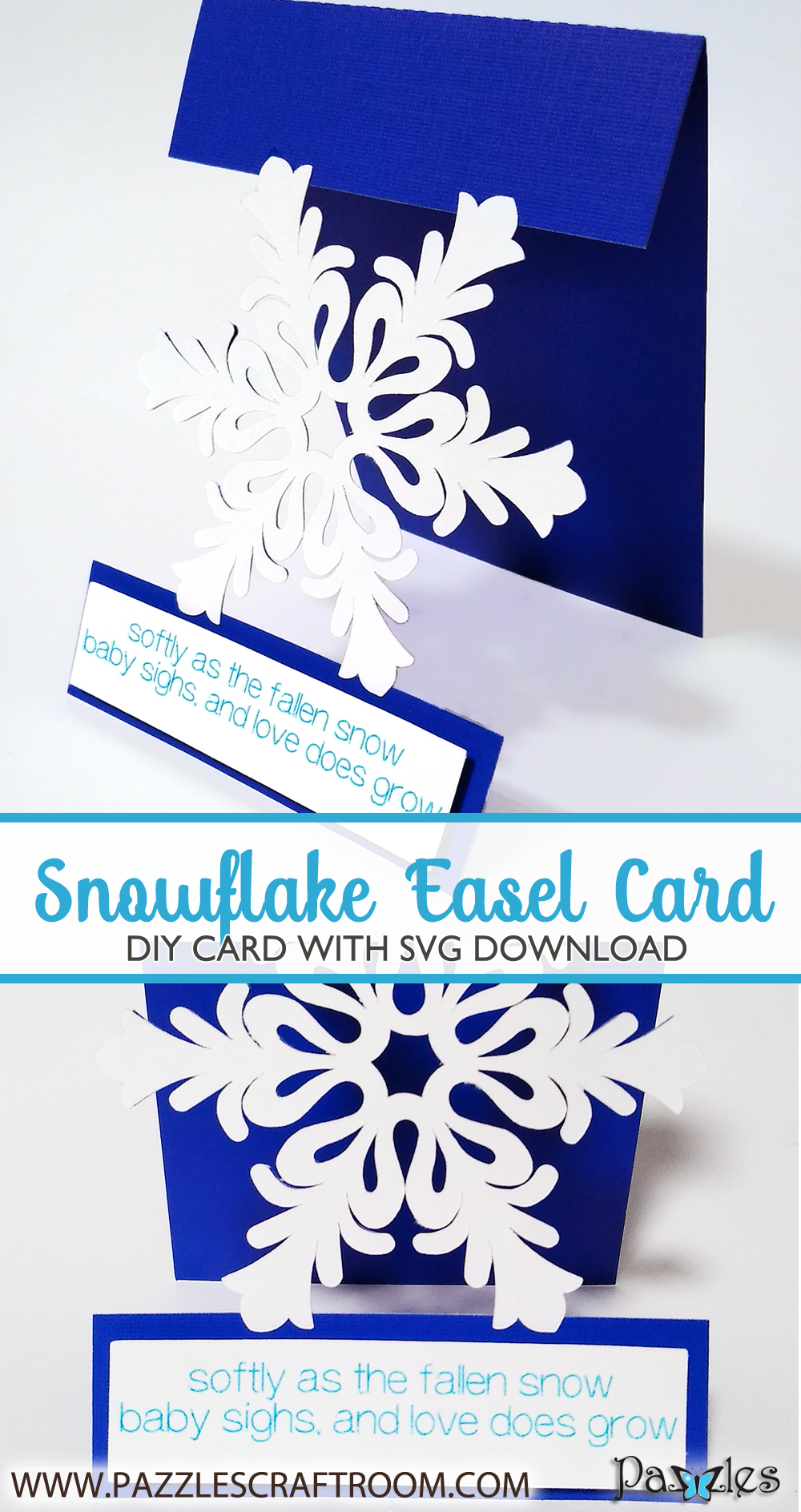 Pazzles DIY Snowflake Easel Card with instant SVG download. Compatible with all major electronic cutters including Pazzles Inspiration, Cricut, and Silhouette Cameo. Design by Renee Smart.