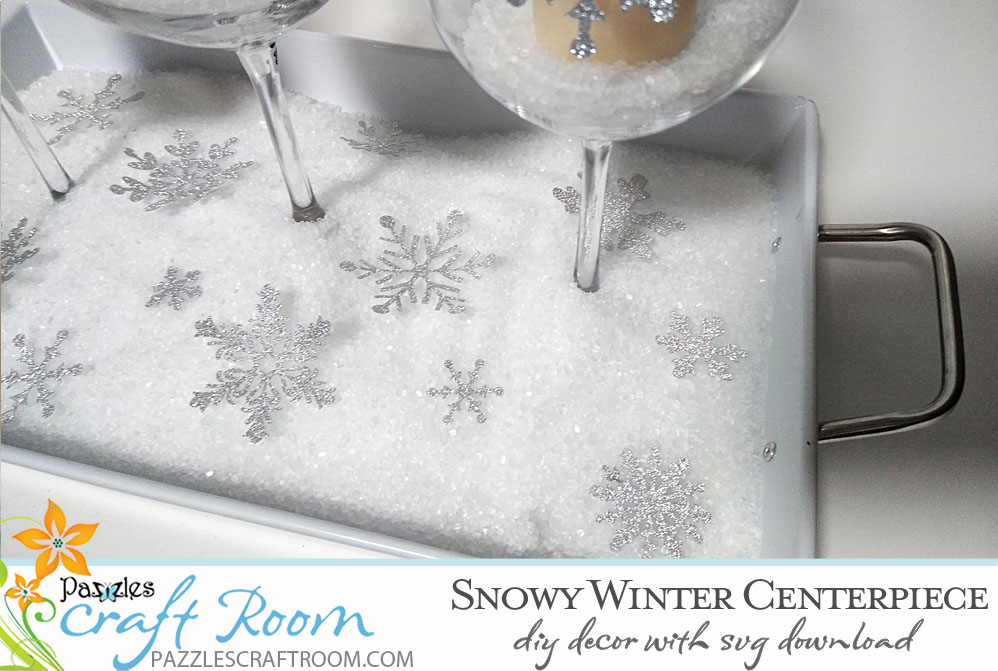 Pazzles DIY Winter Centerpiece Home Decor with instant SVG download compatible with all major electronic cutters including Pazzles Inspiration, Cricut, and Silhouette Cameo. Design by Renee Smart.