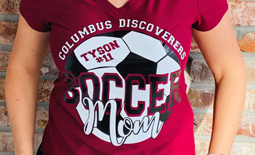 Pazzles DIY Customizable Soccer Mom Shirt with instant SVG download. Compatible with all major electronic cutters including Pazzles Inspiration, Cricut, and Silhouette Cameo. Design by Sara Weber.