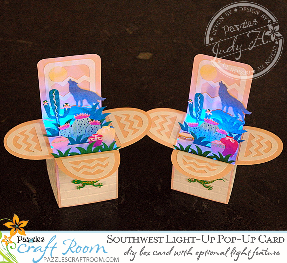 Pazzles DIY Southwest Pop-up Card with Light-up feature by Judy Hanson