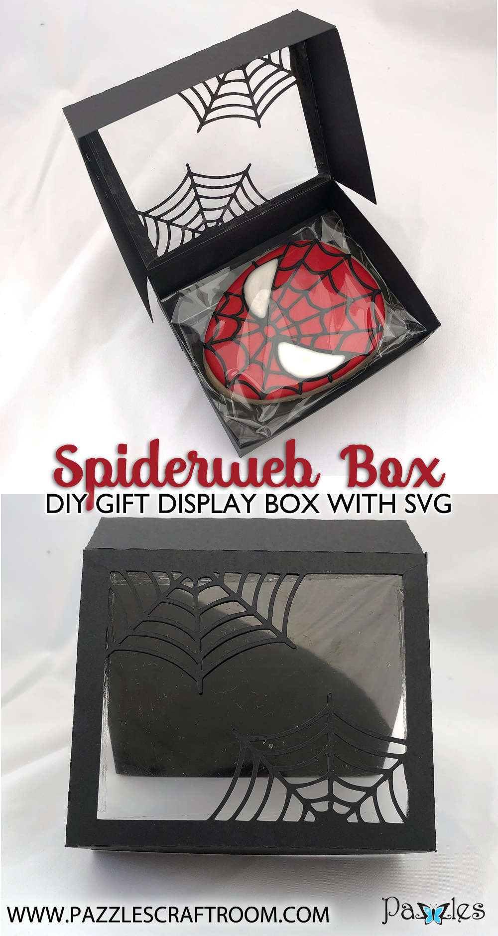 Pazzles DIY Spider Web Box for cookies or gifts. SVG instant download included. Compatible with all major electronic cutters including Pazzles Inspiration, Cricut, and Silhouette Cameo. Design by Alma Cervantes.