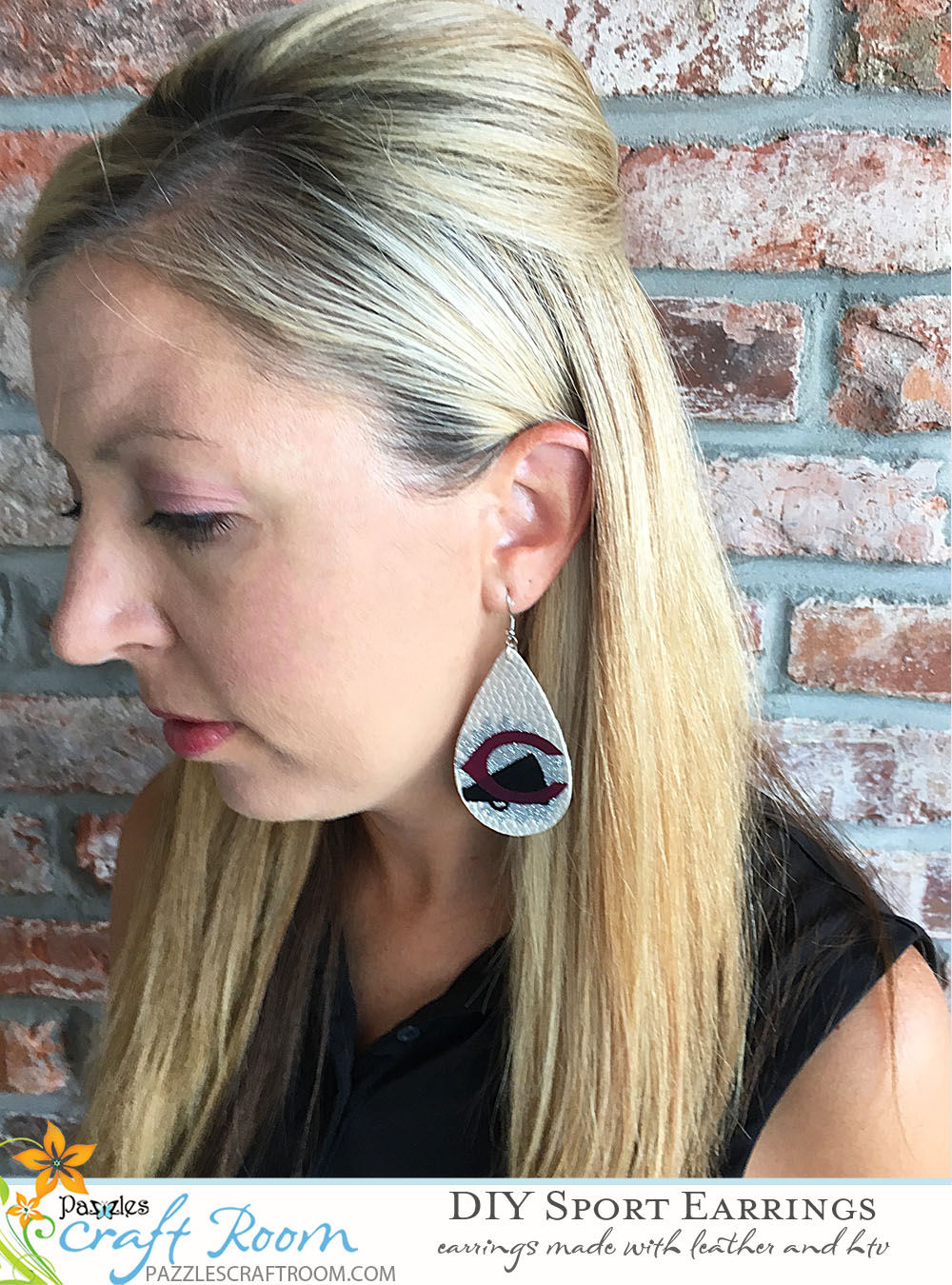 Pazzles DIY Sport Earrings Made with Leather and HTV by Sara Weber