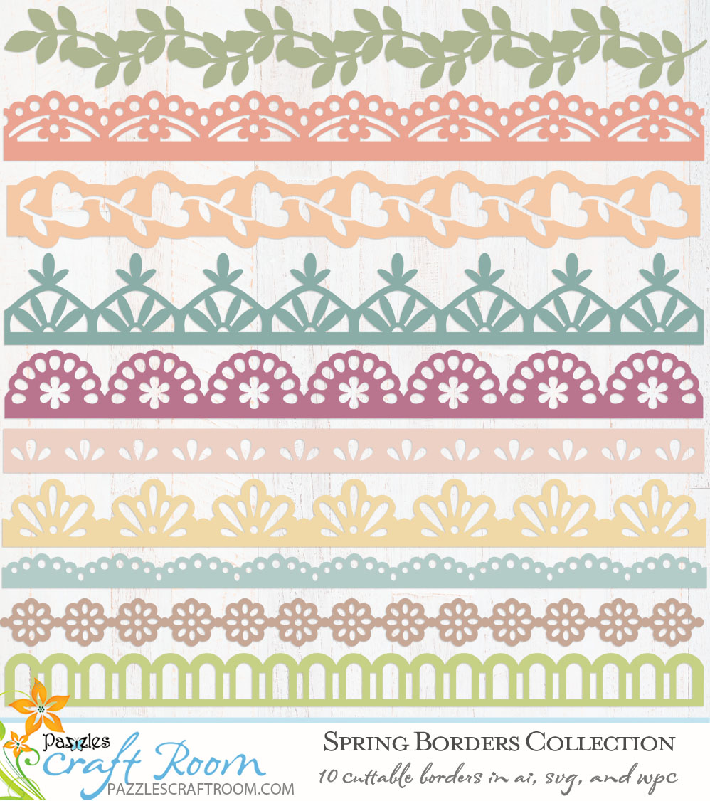 Pazzles DIY Collection of 10 Spring Border SVG Designs. Instant download in SVG, AI, and WPC compatible with all major electronic cutters including Pazzles Inspiration, Cricut, and Silhouette Cameo.