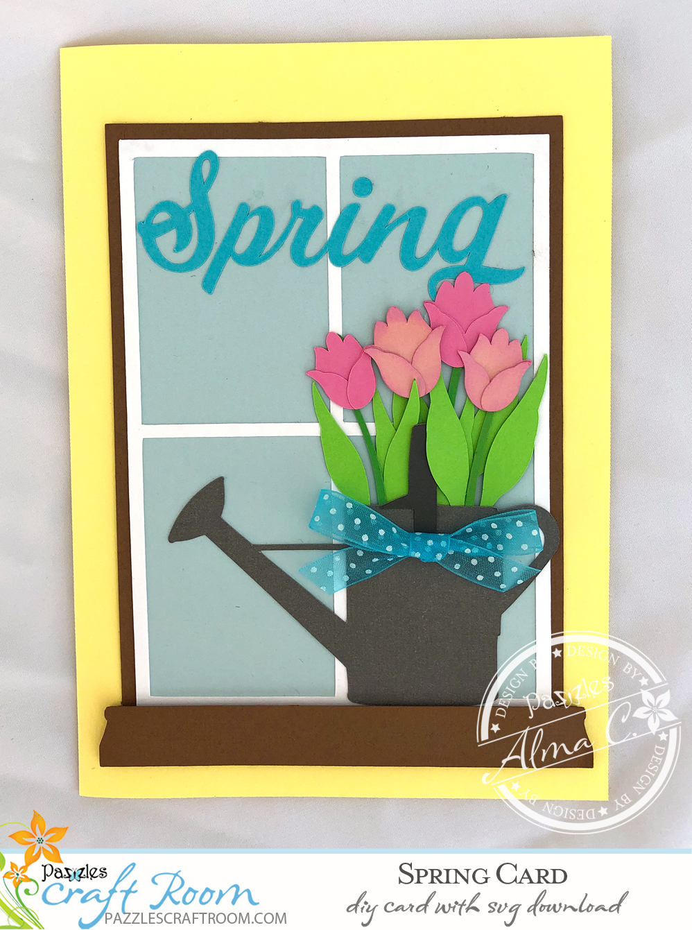 Pazzles DIY Spring Tulip Card with instant SVG download. Compatible with all major electronic cutters including Pazzles Inspiration, Cricut, and Silhouette Cameo. Design by Alma Cervantes.