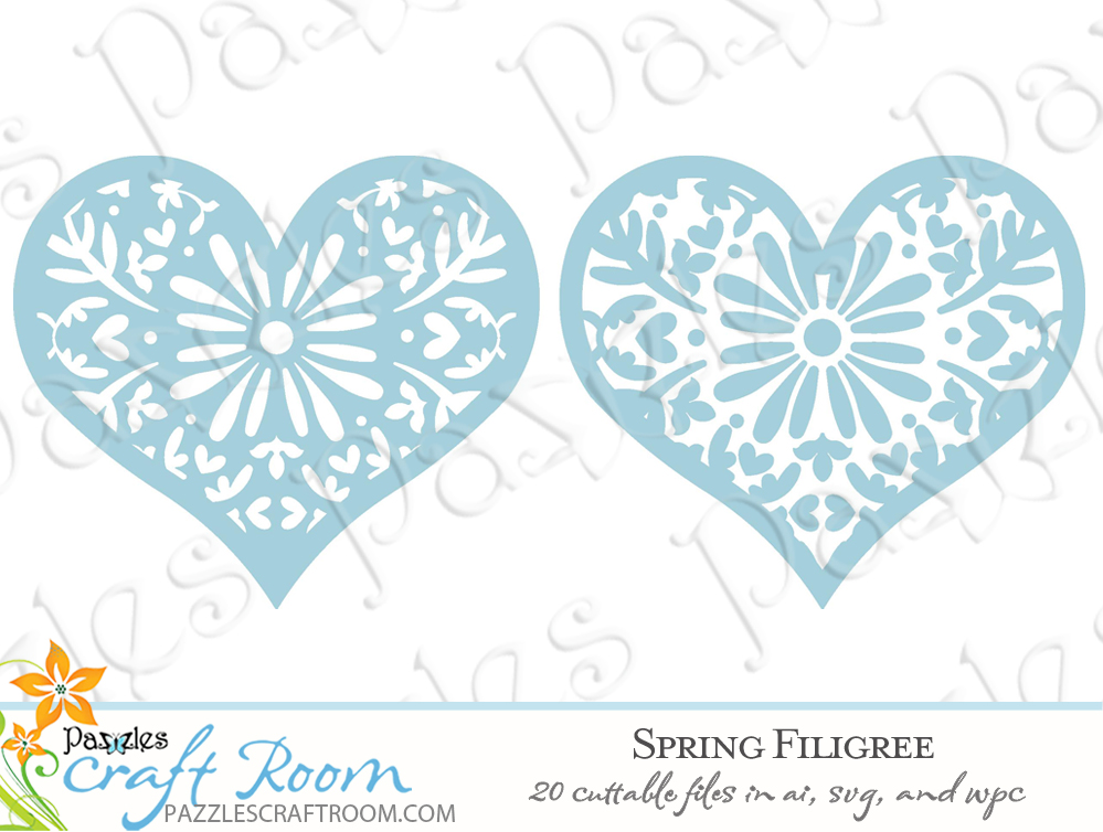 Pazzles DIY Spring Filigree Cutting Collection with 20 cuttable files in SVG, AI, and WPC.  Instant SVG download compatible with all major electronic cutters including Pazzles Inspiration, Cricut, and Silhouette Cameo. Design by Amanda Vander Woude.