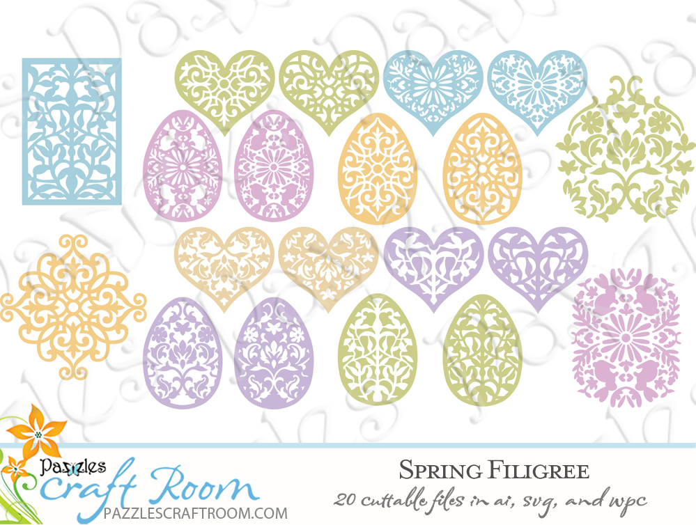 Pazzles DIY Spring Filagree Cutting Collection with 20 cuttable files in SVG, AI, and WPC. Instant SVG download compatible with all major electronic cutters including Pazzles Inspiration, Cricut, and Silhouette Cameo. Design by Amanda Vander Woude.
