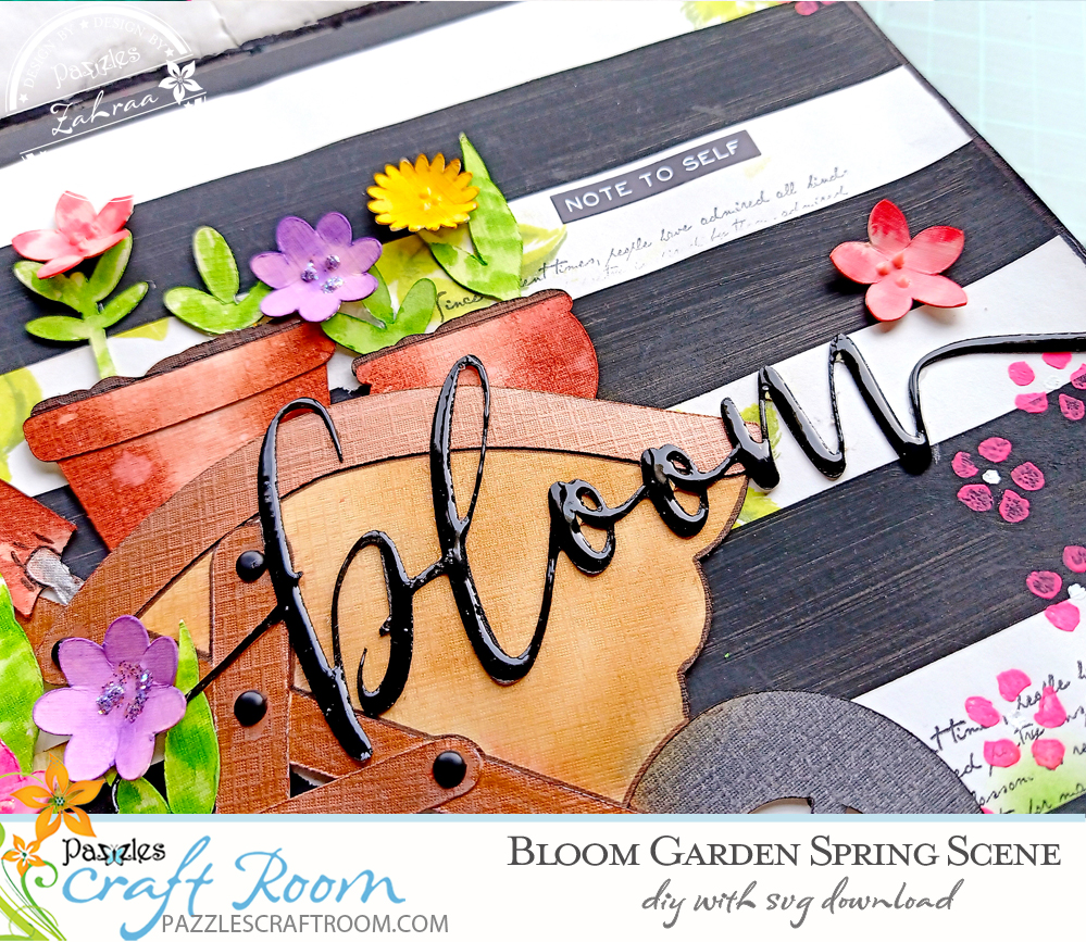 Pazzles DIY Blooms Garden Spring Scene for Journaling, Scrapbook, and Cards. Instant SVG download compatible with all major electronic cutters including Pazzles Inspiration, Cricut, and Silhouette Cameo. Design by Zahraa Darweesh.