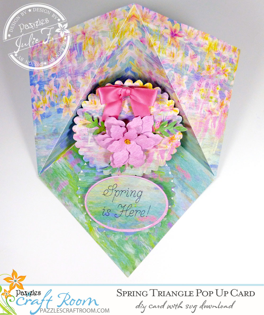 Pazzles DIY Spring Pop Up Card with instant SVG download. Compatible with all major electronic cutters including Pazzles Inspiration, Cricut, and Silhouette Cameo. Design by Julie Flanagan.