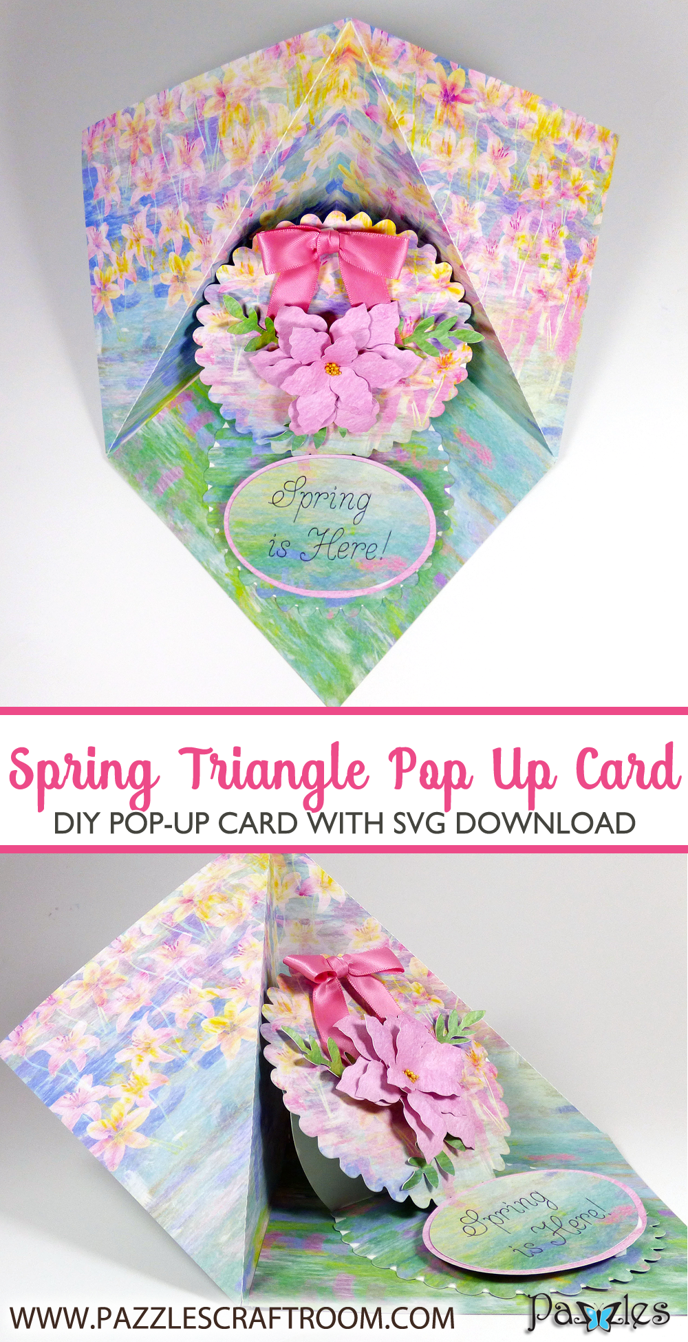 DIY Pazzles Spring Triangle Pop Up Card with instant SVG download. Compatible with all major electronic cutters including Pazzles Inspiration, Cricut, and Silhouette Cameo. Design by Julie Flanagan.