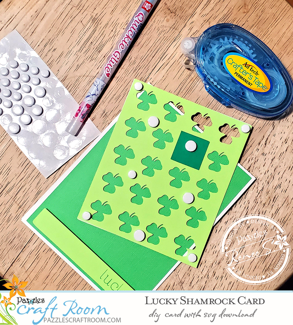 Pazzles DIY Lucky Shamrock Card with instant SVG download.  Instant SVG download compatible with all major electronic cutters including Pazzles Inspiration, Cricut, and Silhouette Cameo. Design by Renee Smart.