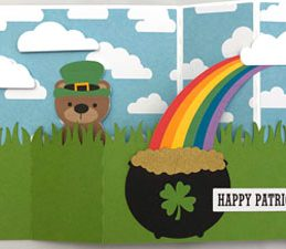 Pazzles DIY St. Patricks' Day Wiper Card with instant SVG download. Compatible with all major electronic cutters including Pazzles Inspiration, Cricut, and Silhouette Cameo. Design by Alma Cervantes.