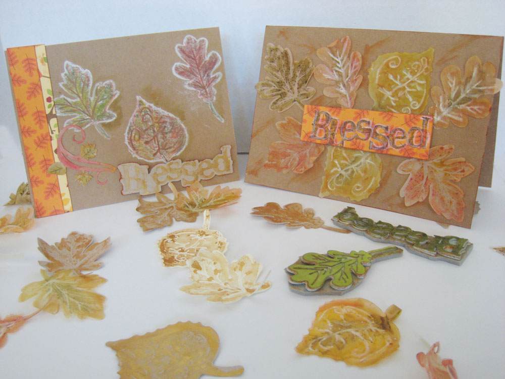 Rubber Stamped Leaves