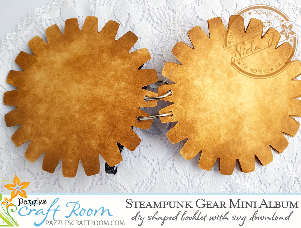 Pazzles DIY Steampunk Mini Album Gear Shaped Booklet with SVG download compatible with all major electronic cutters including Pazzles Inspiration, Cricut, and Silhouette Cameo. Design by Nida Tanweer.