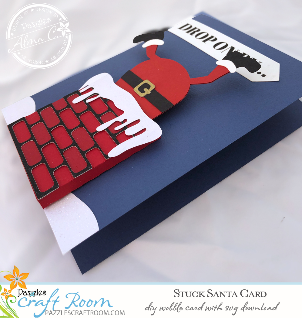 Pazzles DIY Stuck Santa Card with instant SVG download. Compatible with all major electronic cutters including Pazzles Inspiration, Cricut, and Silhouette Cameo. Design by Alma Cervantes.