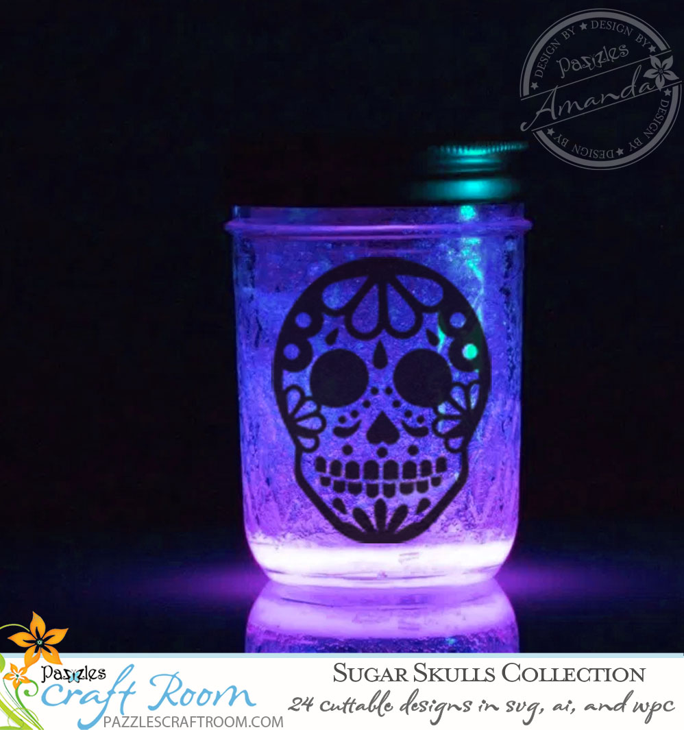 Pazzles DIY Sugar Skull Lantern and Cutting Collection in SVG, AI, and WPC for Dia de Los Muertos or Halloween by Amanda Vander Woude