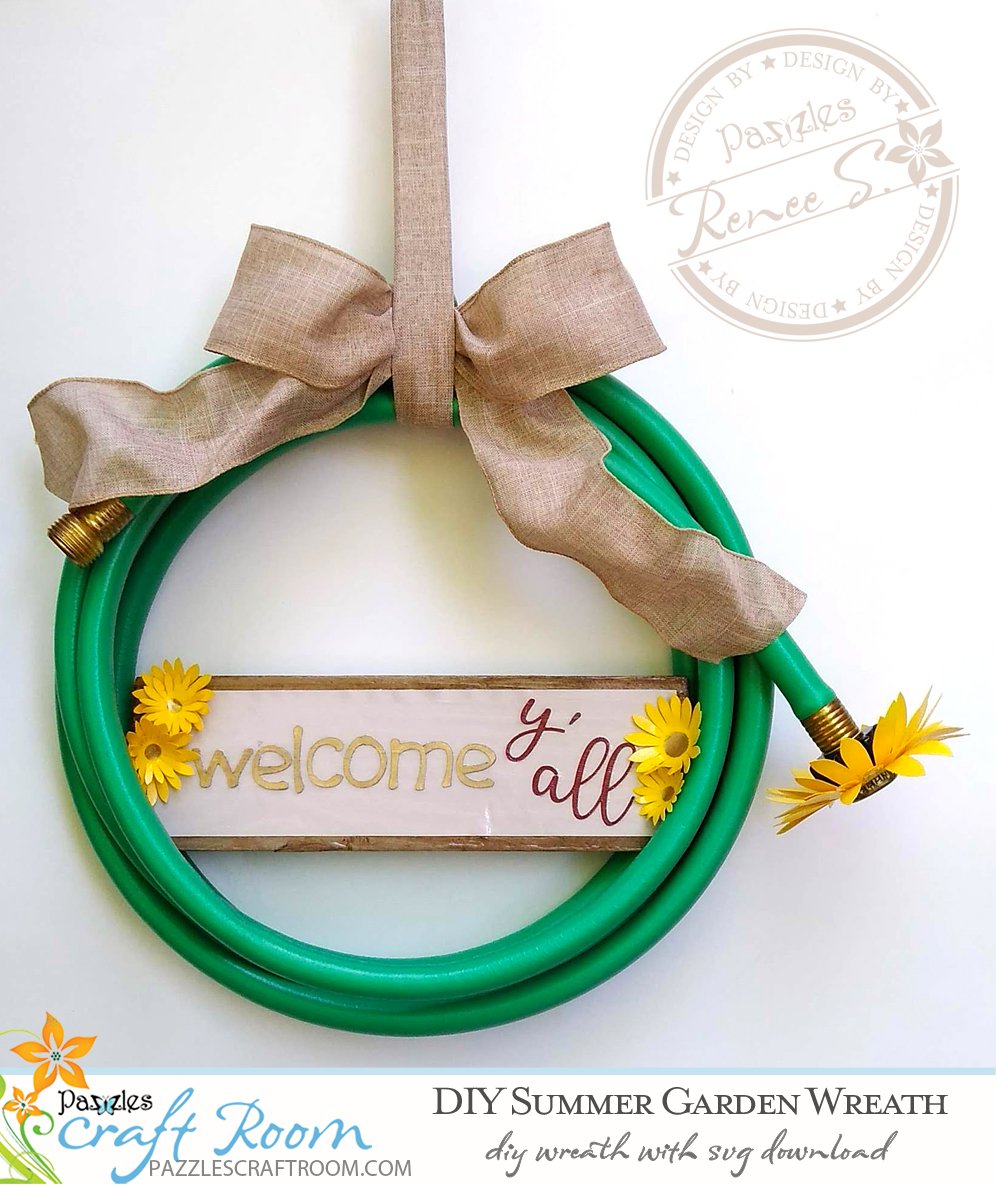 Pazzles DIY Summer Garden Hose Wreath with instant SVG download. Compatible with all major electronic cutters including Pazzles Inspiration, Cricut, and Silhouette Cameo. Design by Renee Smart.