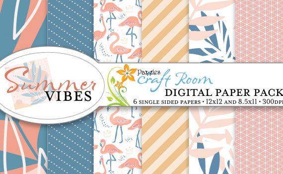 Pazzles DIY Summer Vibes digital paper with instant download.