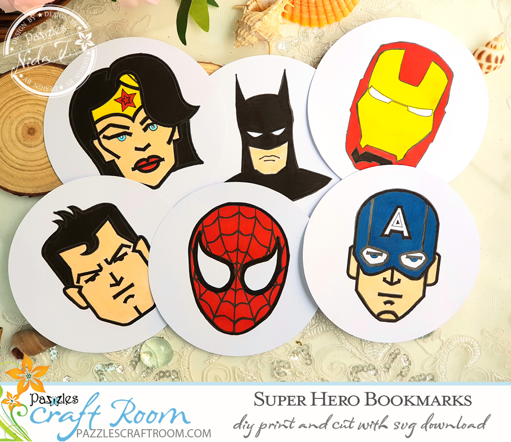 Pazzles DIY Super Hero Bookmarks with print and cut option. Instant download SVG compatible with all major electronic cutters including Pazzles Inspiration, Cricut, and Silhouette Cameo. Design by Nida Tanweer.
