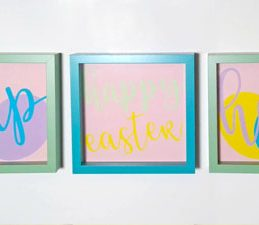Pazzles DIY Easter Home Decor Trio with instant SVG download. Compatible with all major electronic cutters including Pazzles Inspiration, Cricut, and Silhouette Cameo. Design by Renee Smart.