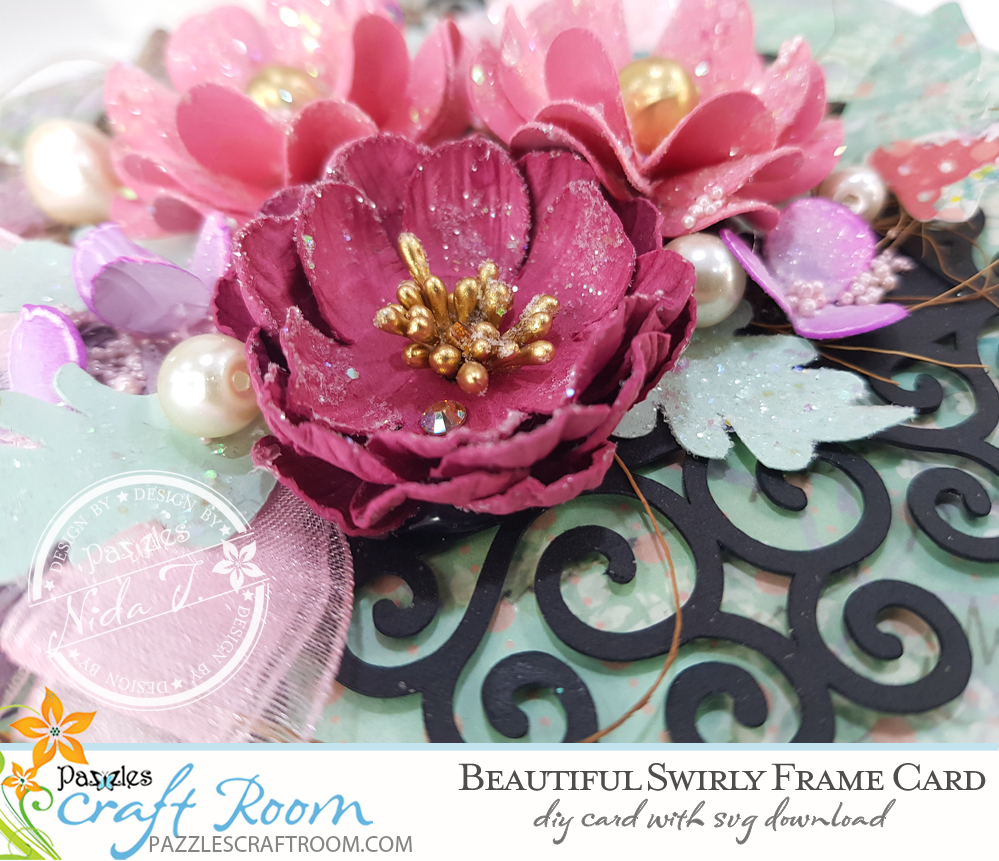 Pazzles DIY Swirly Frame Card. Instant SVG download compatible with all major electronic cutters including Pazzles Inspiration, Cricut, and Silhouette Cameo. Design by Nida Tanweer.